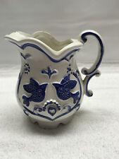 Vintage Rubens Mini Pitcher Creamer Japan White Blue Birds 2253X