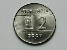 India 2007 2 RUPEES Coin with AU+ Toned-Lustre & Type KM-326