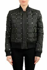 Just Cavalli Black Embellished Full Zip Women's Parka Jacket US S IT 40