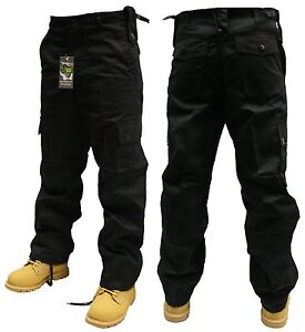 BLACK ARMY COMBAT CARGO SECURITY TROUSERS PANTS 30 32 34 36 38 40 42 44 46 48 50