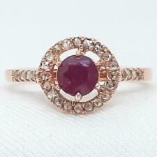 Genuine .96ctw Ruby & H-SI Diamond 14K Rose Gold Ring Size 8