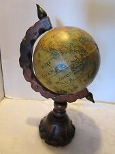 "Vintage Tabletop Desk World Globe rotating wood base Spain handmade 15¾""t 1960's"