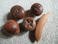 5 Pc Vintage Wooden Fruit Banana Apple Plum
