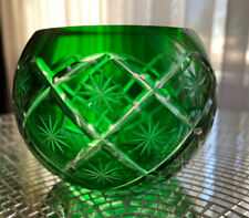 """Vintage -Emerald Green Cut to Clear -Crystal Candle Holder 2-3/4"""""""