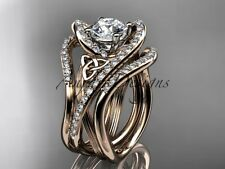 Double Band Engagement Rings, 14k Rose Gold Irish Celtic Bridal Ring CT7369S