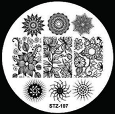 Nail Art Stamping Plates Image Plate Decoration Abstract Flower Atom (STZ-107)