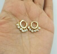 14K Yellow Gold Over Crystals Charms Huggie Hoop Earrings
