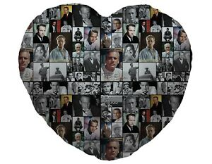Colour Paul Newman Fan Montage Design Heart Shaped Cushion Valentines Day