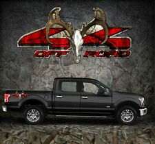 2 4x4 Off Road Truck Camouflage Buck Skull Camo Truck Bed Decals Stickers-BSO
