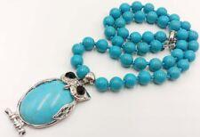Beautiful! 8mm Blue Turquoise Gemstone Beads + Owl Pendant Necklace 18''