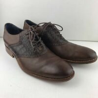 Cole Haan Mens Colton Saddle Oxford Shoes Brown Crocodile Embossed Lace Up 9.5 M