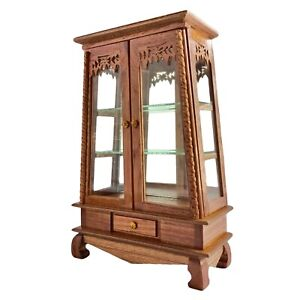Miniature Wooden Cabinet Display One Drawer Hand Carved Furniture Doll House