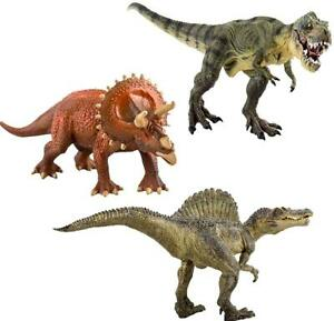 deAO Large Dinosaur Figures Set of 3 T-Rex Triceratops Spinosaurus Toy Kids Gift