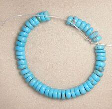 "Sleeping Beauty Turquoise 5mm Rondelle Gemstone Beads Blue 4"" Std Jewelry #141"