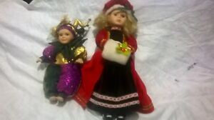 Interesting Pair Of Bisque Dolls, Jester and Christmas