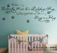 """Wall Art Quote Vinyl Decal """"Butterfly Kiss & Lady Bug Hug"""" Kids Nursery Stickers"""