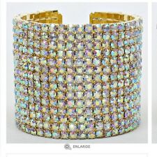 "2"" Wide Ab Gold 14 Line Clear Pageant Crystal Aurora Borealis Cuff Bracelet"