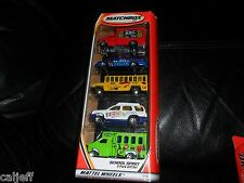 RARE HTF MATCHBOX 5 CAR GIFT PACK SET SCHOOL SPIRIT BUS POLICE TRUCK  SUV