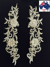 1Pair Beautiful Bridal Lace(motif) Flower with Pearl/Beaded 29x6.5cm Off White