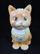 Vintage Josef Originals - Cat Kitten with Flowers - Condiment Jar w/ Spoon