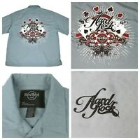 Hard Rock Cafe Tampa Florida Men's L Embroidered Gray Button Down Shirt EUC