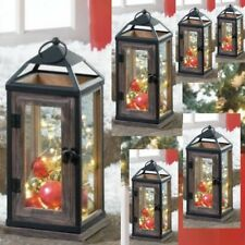 "6 Large Wood Metal Lantern 13"" Tall Rustic Candleholder Wedding Centerpieces"