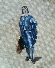 "Victorian Blue Boy Needlepoint Finished Pillow Wall Decor Petit Point 9""x12"" Vtg"