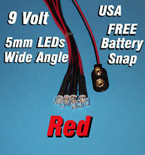10 pcs LED - 5mm PRE WIRED LEDS 9 VOLT WIDE RED 9V PREWIRED