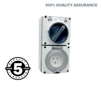 3 Pin 10 Amp Switched Socket Outlet IP66 Weatherproof Industrial
