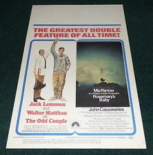 THE ODD COUPLE ROSEMARY'S BABY MODEL SHOP 1969 ORIG DS MOVIE POSTER WINDOW CARD
