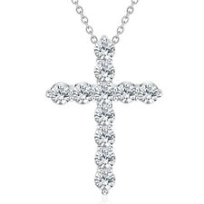 Silver crystal Necklace fashion cute women Lady Crystal Cross wedding LN012