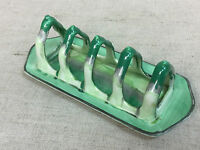 Vintage Shelley English Fine Bone China Green Drip Glaze Harmony Toast Rack