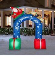 Gemmy 9 ft Tall Christmas Santa Sleigh Reindeer Archway Airblown Inflatable New