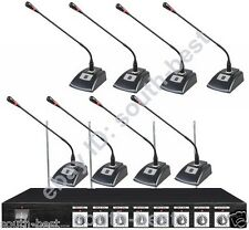 """New Professional Conference 8 Desktop Wireless Microphone System 19"""" Rack Design"""