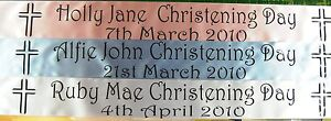 Personalised 100mm Wide Christening Ribbon Banner 1 Metre - FREE P/P New