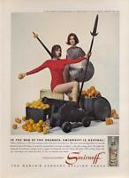 1962 Smirnoff PRINT AD Vodka features Ladies Orange War Cannon fun Vintage photo