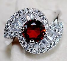2CT Red Ruby & White Topaz 925 Solid Sterling Silver Ring Jewelry Sz 8, T7-9