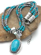 "Navajo Pearls Kingman Turquoise Sterling Silver Pendant Necklace3S Set  21"" 3001"