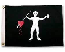 """Famous Pirate John Quelch 12"""" x 18"""" Two Sided Weather Resist Flag 200denier Usa"""