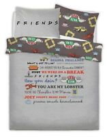 WARNER BROTHERS FRIENDS SLOGAN Polycotton Duvet Cover Set with Pillowcases