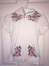 USED JUICY COUTURE SMALL TERRY SHORT SLEEVE HOODED JACKET WHITE EMBROIDERED