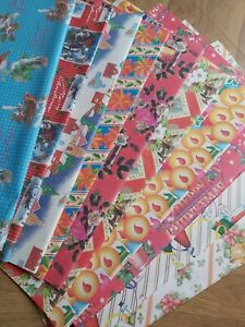 1960s 1970s Vintage Christmas Wrapping Paper 10 random sheets old new stock