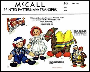 """McCall #914 Raggedy Ann & Andy Topsy Turvy 12"""" DOLL Sewing Fabric Pattern Camel"""