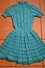 Girl's Dress Handknitted sz 10-12 Sweater-Dress Bright Teal, brand new
