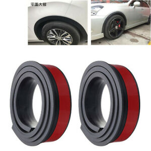 2PCS 1.5M Black Car Wheel Eyebrow Arch Trim Lips Strip Fender Flare Protector