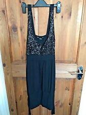 Ladies Jane Norman Long Black / Sequin Vest Top - UK Size 12