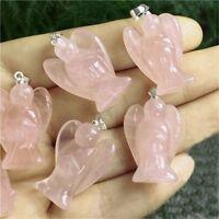 Natural Pink Gemstone Healing Crystal Carved Pocket Guardian Angel Poem Gift