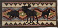 20X44 Moose Bear Wolf Brown Black Cabin Lodge Kitchen Rug Mat Washable Accent