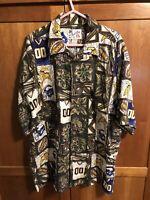 Mens Minnesota Vikings Reyn Spooner Sun & Turf NFL Hawaiian Shirt XL Vintage EUC
