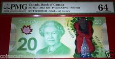 LOW SERIAL NUMBER 445 <> $20,2012 BANK OF CANADA  ,PMG64.